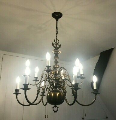 Early 20th Century Antique Rustic Carved Pine French Chandelier 8 Light French