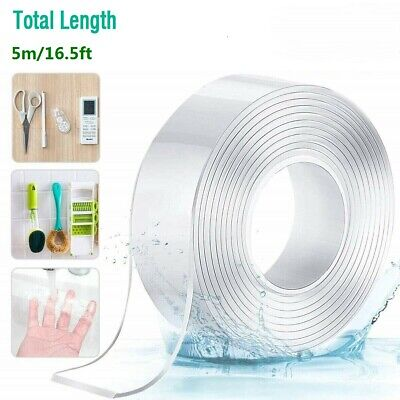 Nano Magic Tape Double Sided Traceless Washable Adhesive Invisible Gel 5M 16.5ft