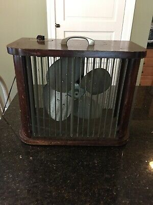 Vintage Mathes Cooler 4 Speed Control Fan in wood  Works great
