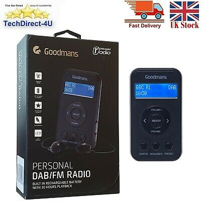 Goodmans Personal DAB/FM Radio Compact & Rechargeable LCD Display in Car Dab