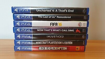 PS4 GAMES BUNDLE RDR 2, Injustice 2, Minecraft, The Last of Us, Uncharted