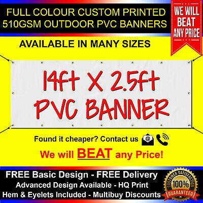 14ft x 1.5ft PVC Banner Custom Printed Outdoor Heavy Duty Banners Advertising