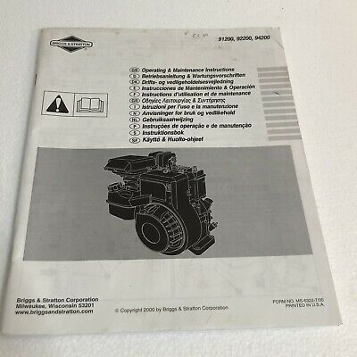 Briggs and Stratton Engine 91200, 92200 Operating and Maintenance Instructions