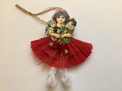 Witch Trick or treat  gift tag item# 33 Paper doll Vintage Halloween ornaments