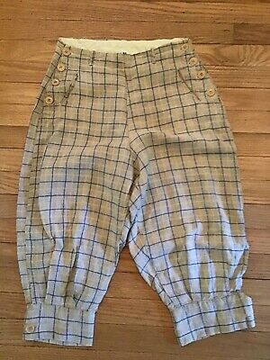 Antique 1920-30's CAMPUS Knickers -Womens linen plaid