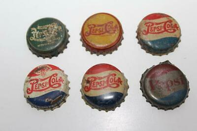Vintage Lot of 6 PEPSI BOTTLE CAPS Cola/Soda Cork Lined Double Dot Yellow Green