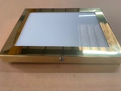 Brass A3 Menu Box Menu Case & Pinboard LED Illuminated For Indoor & Outdoor Use