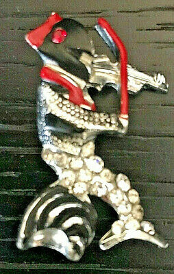 Vintage Dolphin Playing A Fiddle Pin/Brooch 1940s Red/Black Enamel & Rhinestones