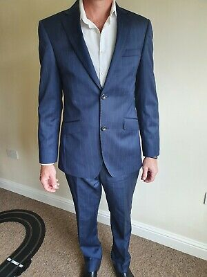 Austin Reed Mens Blue Faint Pinstripe Suit Jacket 38r Trousers 32w 32l 25 00 Picclick Uk
