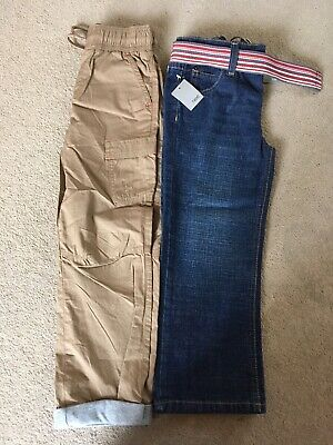 Boys Stone Elasticated Waist Trousers, Next Adjustable Blue Jeans And Belt Age 6