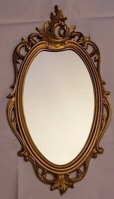 "Vintage SYROCO Gold Oval Ornate Framed 30"" Wall Mirror Hollywood Regency 1965"