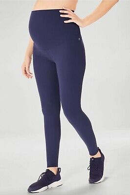 Fabletics PureLuxe High Waisted Maternity Leggings Womens L Abyss Blue Yoga $90
