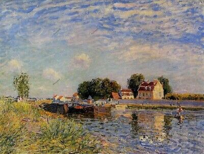 Alfred Sisley Oil Painting Saint Mammes Ducks on Canal Hand-Painted 30x40