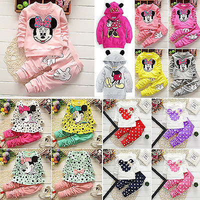 UK Kids Girls Minnie Mouse Long Sleeve Tops Pants Trucksuits Casual Outfits Sets