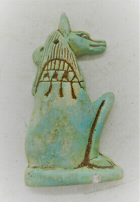 Beautiful Ancient Egyptian Glazed Faience Amulet Of Anubis