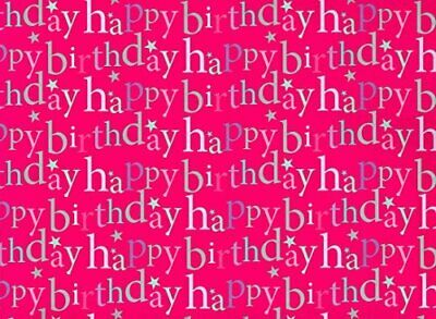 2 Sheets Gift Wrap Wrapping Paper HAPPY BIRTHDAY Pink Gold Ladies Teen Mum Heart