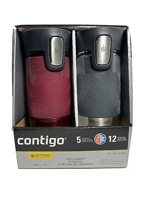 Contigo Spill Proof 2 Pack Travel Mug Autoseal 5 Hr Hot/12 Hr Cold  Red/gray W1