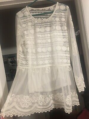Free People L White Floral Embroidered Sheer Flutter Sleeves Hippie Tunic Dress