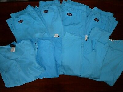Lot of 9- Womens Medical Scrub top and bottoms Blue Sz XXS,XS,S,M-Mixed Lot