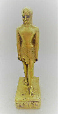 Ancient Egyptian Gold Gilded Stone Standing Servant Statuette Beautiful