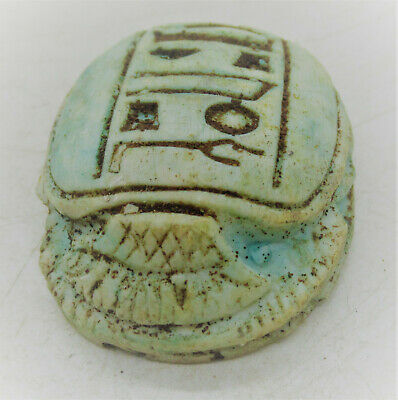 Circa 500 Bce Ancient Egyptian Glazed Faience Scarab Bead Seal Rare