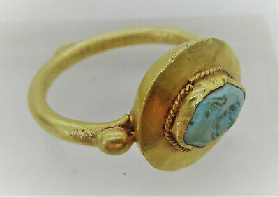 Ancient Roman Turquoise Intaglio Set In A High Carat Gold Ring 200-300Ad