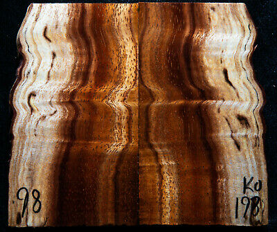 """Curly Koa #198 Knife Scales 4""""x 1.9-2.4""""x 7/16"""" see 100 species in my store"""