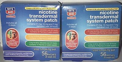 (2)Nicotine Transdermal System Rite Aid Patch Step 1, 2, 3, 56 Patches FREE SHIP