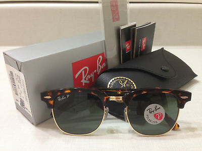 Ray Ban Clubmaster Sunglasses POLARIZED Green Lens Tortoise Havana Frame 51MM,,