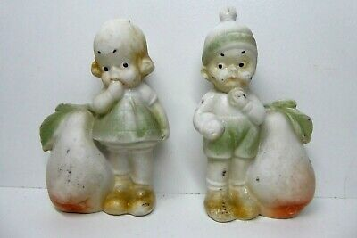 Antique Bisque Porcelain German Pottery Statues Figurines Heubach Toothpick Vase