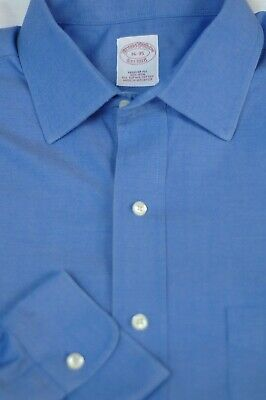 Brooks Brothers Men's French Blue Pinpoint Cotton Dress Shirt 16 x 35