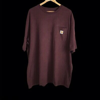 Vintage Carhartt Maroon Pocket T-Shirt XXL Original Fit