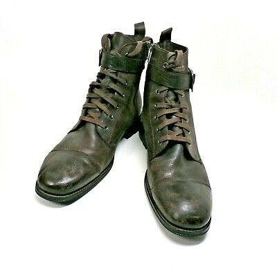 Mens Banana Republic Brown Leather Ankle Boots Lace Up Side Zipper w Buckle 10 M