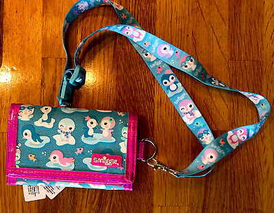 Smiggle Teal Purse Wallet With Pink Trim And Lanyard - Penguin Design RRP £8.50