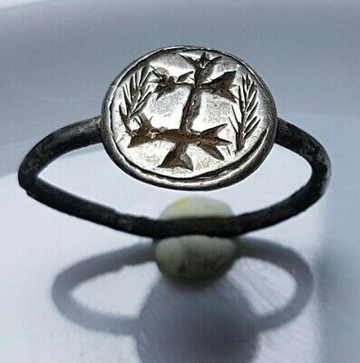 Crusaders Double Cross Silver Ancient  Ring