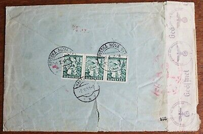 Slovakia – 1941 Cover to Germany with German Censor Tape & Cancel (Le1)