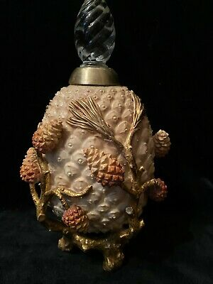 Antique Moore Brothers English Porcelain Bottle with Pinecones c1885
