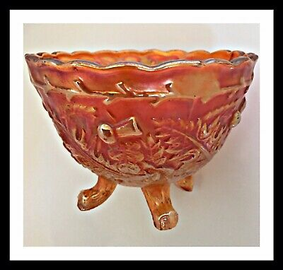 Vintage Marigold  Carnival Glass footed Sugar Bowl Nut  THORN & THISTLE Sowerby