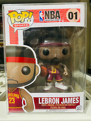 LeBron James Funko Pop Red Cavaliers Cavs Jersey vaulted w Protector