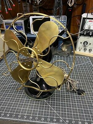 """WESTINGHOUSE Style 149575 3 Speed 12"""" Brass Blades Antique electric fan"""
