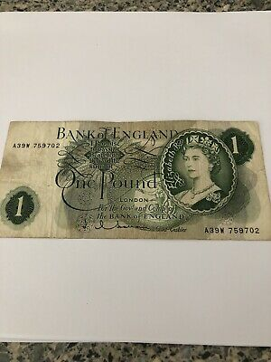 Bank of England Old £1 Banknote One Pound Note,Cashier Hollom,UK/GB, A39W 759702