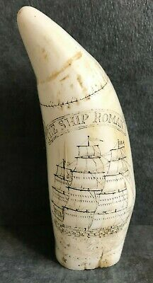 Antique Maritime 'The Ship Roman' Scrimshaw Replica Faux Whales Tooth Resin