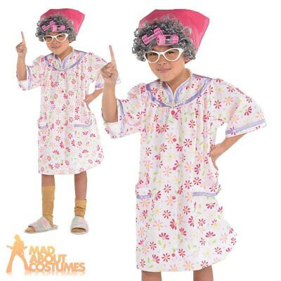 Toddler Girls Old Lady Costume Granny Grandma World Book Day Fancy Dress Outfit