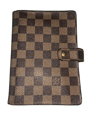 100% Auth LOUIS VUITTON DAMIER EBENE AGENDA MM & Inserts Included