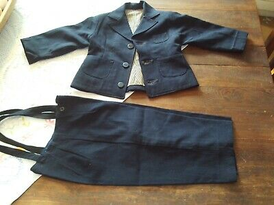 Antique Little Boys Suit, Hand Made, Toddler Pants w/ Suspenders & Lined Jacket