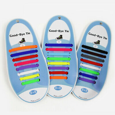 Stylish No Tie Shoelaces Elastic Silicone Flat Lazy Shoe Lace Strings Adults NEW