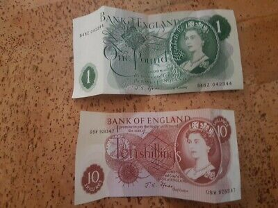 Bank Of England Ten Shilling And One Pound Note Crisp