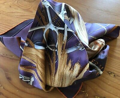 "Hermes Silk Scarf Purple 34"" square"