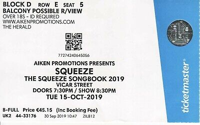 Used ticket to see Squeeze in Vicar Street in Dublin, October 2019