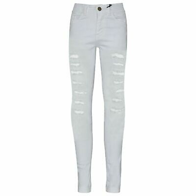 Kids Boys Denim Jeans Contrast Taped White Stretchy Pants Trouser 5-13 Years